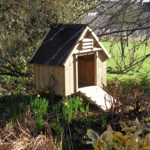 small wooden duck house