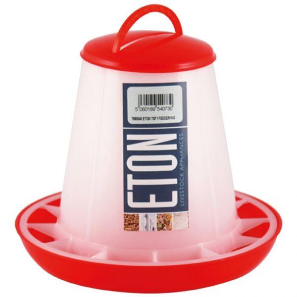 small plastic chicken feeder