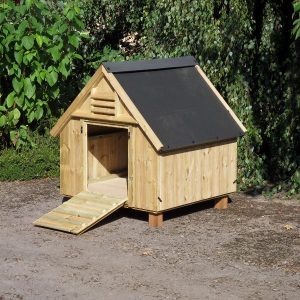 A wooden duck house with the door open